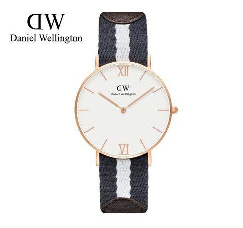 瑞典正品代購 Daniel Wellington 0552DW 玫瑰金 皮革 尼龍 帆布錶帶 男女錶 手錶腕錶 36MM 0