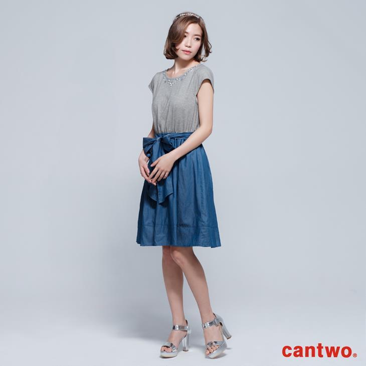 cantwo鑽飾小包袖丹寧系洋裝(共三色) 1