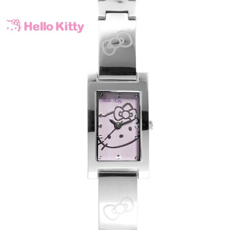 Hello Kitty凱蒂貓 方形紫色kitty貓腕錶 不鏽鋼手錶 原廠公司貨 柒彩年代【NE1649】LK679LWVI 0