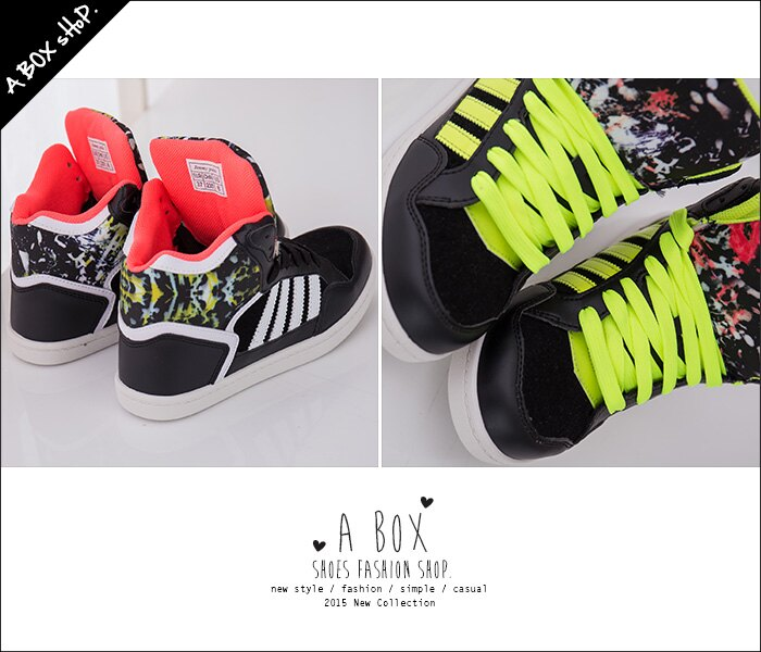 格子舖*【AJ37072】MIT台灣製 流行塗鴉螢光撞色 繫帶高筒休閒街頭運動球鞋 帆布鞋 3色 2