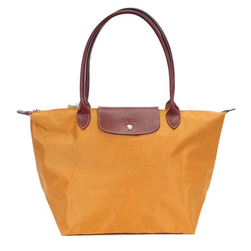 [長柄M號]國外Outlet代購正品 法國巴黎 Longchamp [1899-M號] 長柄 購物袋防水尼龍手提肩背水餃包 太陽橙