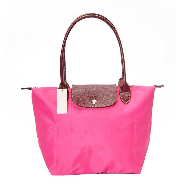 [2605-S號] 國外Outlet代購正品 法國巴黎 Longchamp 長柄 購物袋防水尼龍手提肩背水餃包 粉紅色
