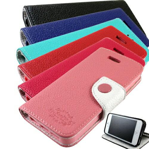KooPin Apple iPhone 5C 雙料縫線 側掀(立架式)皮套