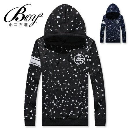 ☆BOY-2☆ 【NC0553】潑漆條紋刷毛連帽T恤 0