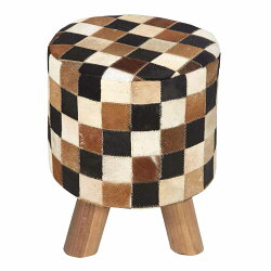 Homescapes Brown, Cream and Tan Check Leather Hide Pouffe  - 32 X 32 X 42 cm