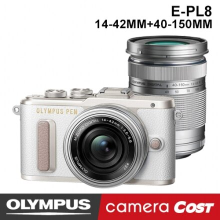 【64G雙鏡豪華組】OLYMPUS E-PL8 EPL8 14-42mm+40-150mm 黑 白 棕 送64G+副電+座充+專用包+嚴選四好禮 公司貨 翻轉自拍 EPL7 再進化 3