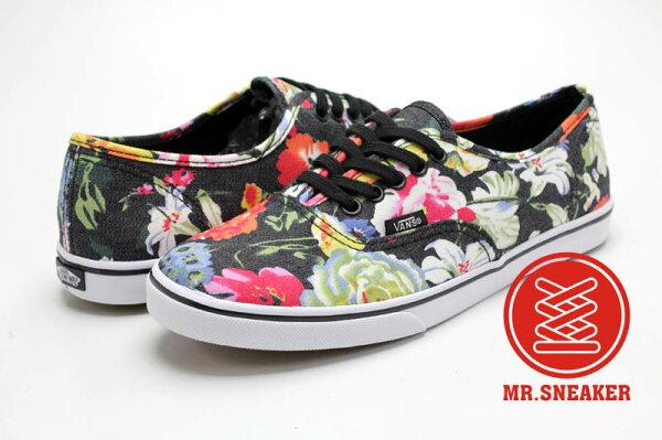 ☆Mr.Sneaker☆ Vans Authentic Lo Pro Floral 經典 復古 休閒 滑板鞋 彩色 鮮艷 黑 滿版花卉 女款