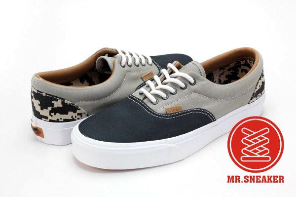 ☆Mr.Sneaker☆ VANS Era CA 經典 休閒/滑板鞋 Twill 別注/特別款 California 高端支線 拼接 數位迷彩 紋格 灰/深藍 海軍藍