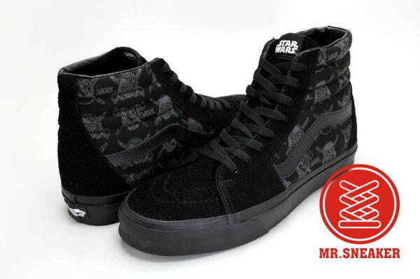 ☆Mr.Sneaker☆ VANS X STAR WARS SK8 HI 經典 復古 休閒 滑板鞋 滿版 印花 黑武士 男款 黑
