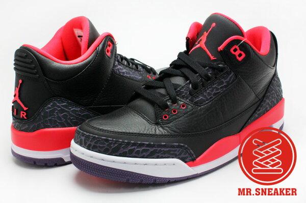 ☆Mr.Sneaker☆ NIKE Air Jordan Retro 3 Black Bright Crimson AJ3 JOKER XX8 男款 小丑 爆裂紋 荔枝皮 黑色 橘色 深紫