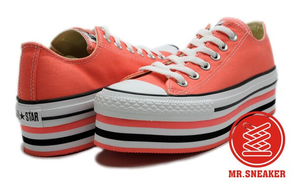 Mr.Sneaker Converse All Star PLATFORM 女款 低筒 粉橘 橘色 粉色 帆布 厚底 條紋 增高 韓風 少女時代