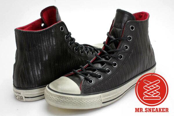 Mr.Sneaker  Converse John Varvatos x All Sta CT STUDDED HI  高筒 皮革 仿舊 拼接 直線車縫 黑色 紅色
