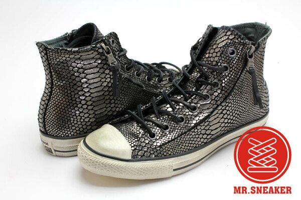 Mr.Sneaker  CONVERSE John Varvatos x All Star JV 復古 仿舊 刷舊 高筒 中性 男女款 拉鏈 鱗片 鱷魚 蟒蛇 蛇鱗 蛇紋 黑色 銀色