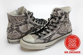 Mr.Sneaker  CONVERSE John Varvatos x All Star JV 復古 仿舊 刷舊 高筒 拉鏈 鱗片 蟒蛇 蛇鱗 蛇紋 白色 米白 灰白