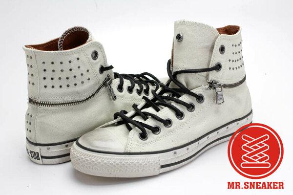Mr.Sneaker  CONVERSE John Varvatos x All Star JV 復古 仿舊 刷舊 高筒 反折 可拆 拉鏈 搖滾 個性 圓鉚釘 釘子 白色