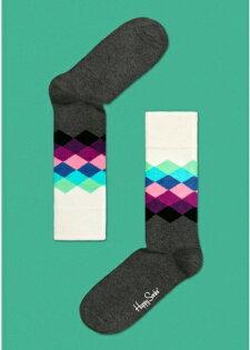 ☆Mr.Sneaker☆ 瑞典 Happy Socks 2013 鑽石 中筒襪 FD01 繽紛 歡樂 快樂襪 彩色 灰/紫/白