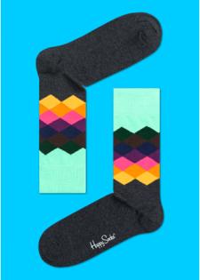 ☆Mr.Sneaker☆ 瑞典 Happy Socks 2014 漸層鑽石 中筒襪 FD01 繽紛 歡樂 快樂襪 菱格 綠/橘/深灰