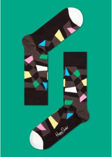 ☆Mr.Sneaker☆ 瑞典 Happy Socks 2015 綺麗幾何 中筒襪 RC01 繽紛 歡樂 快樂襪 男女尺碼 補丁 灰咖啡/黑