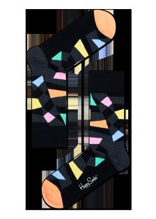 ☆Mr.Sneaker☆ 瑞典 Happy Socks 2015 綺麗幾何 中筒襪 RC01 繽紛 歡樂 快樂襪 男女尺碼 補丁 黑/粉橘