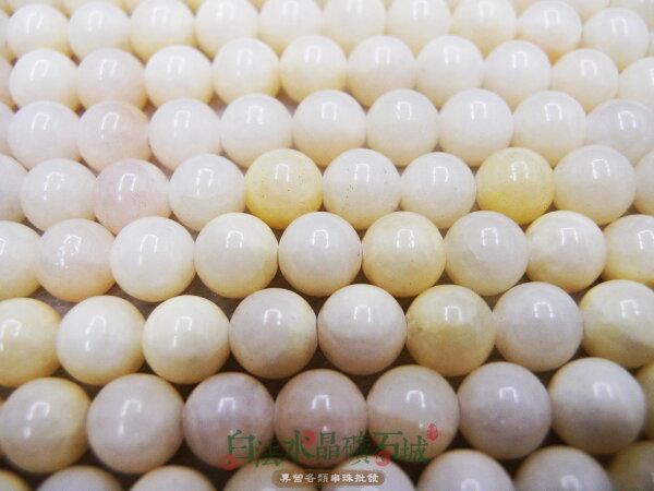 白法水晶礦石城  天然-方解石10mm 礦質 淺鵝黃色 串珠/條珠 首飾材料(一件不留出清五折區)