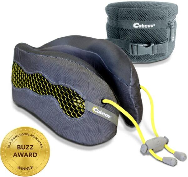 Cabeau 酷涼記憶棉頸枕/飛機靠枕/旅行枕/旅行頸枕 可拆洗/可壓縮收納 灰黃
