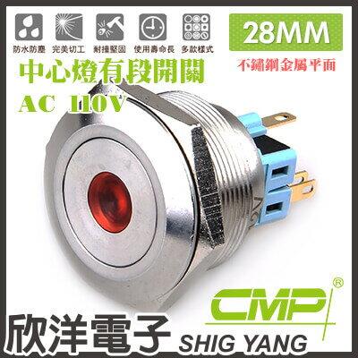 ※ 欣洋電子 ※ 28mm不鏽鋼金屬平面中心燈有段開關AC110V / S2802B-110V 藍、綠、紅、白、橙 五色光自由選購