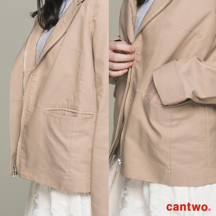 cantwo微光澤連帽短版風衣外套(共三色) 5