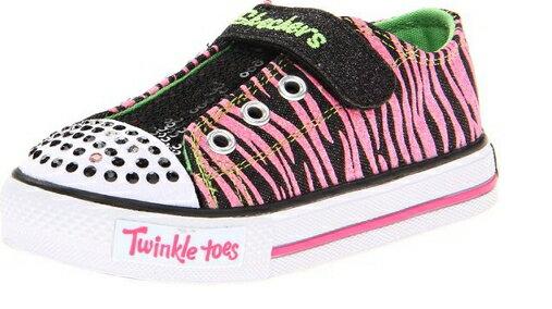 [陽光樂活] SKECHERS 女童鞋 俏麗斑馬紋 10302NBKNP  (14cm)