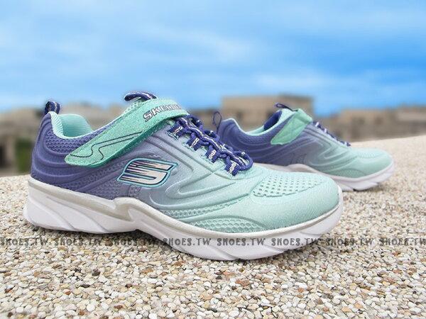 Shoestw【81702LAQPR】SKECHERS 中童鞋 運動鞋 超軟Q底 薄荷綠紫