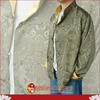 【水水女人國】~中國風男士唐裝~〈驚喜價699元〉綠配金。書卷氣質十足的隱花軟緞2面穿長袖外套 等於買一送一
