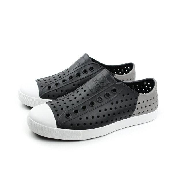 native JEFFERSON 洞洞鞋 黑灰色 男女鞋 no529