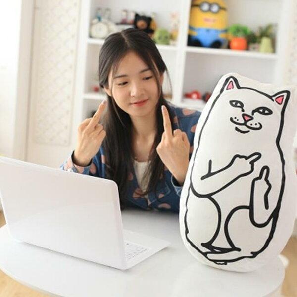 50%OFF【R019525DN】中指貓抱枕靠墊搞笑賤貓公仔毛絨玩具