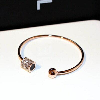 玫瑰金純銀手環鑲鑽手鍊~ 華麗高檔迷人七夕情人節 女飾品73jq12~ ~~米蘭 ~ ~