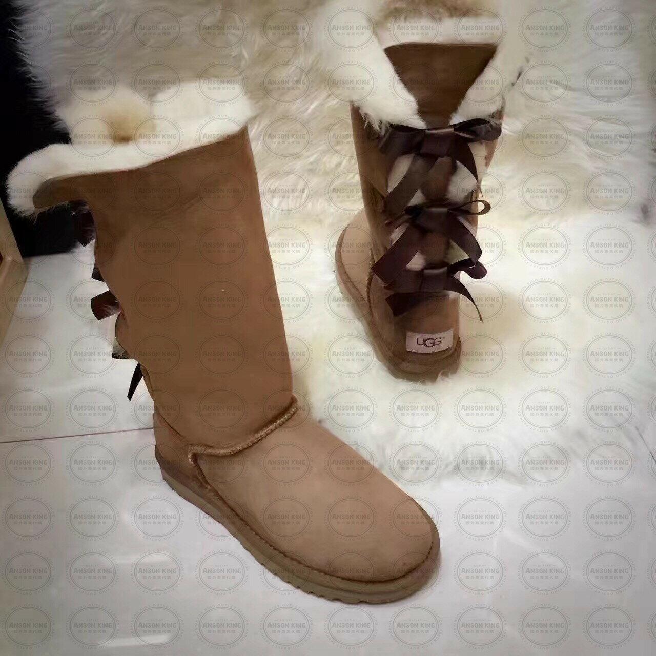 OUTLET正品代購 澳洲 UGG 一體女式絲帶蝴蝶結 保暖 真皮羊皮毛 雪靴 短靴 棕色 0