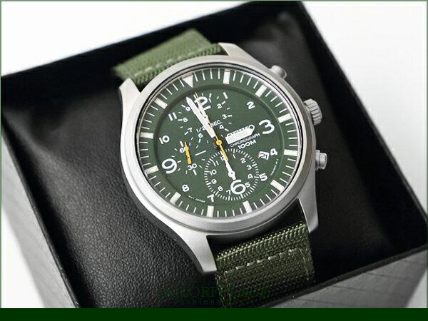 SEIKO 精工帆布防水100米手錶 計時運動型男軍綠色【NE794】柒彩年代 0
