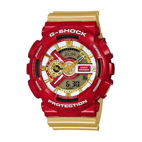 CASIO G-SHOCK GA-110CS-4A限量搶購超潮流鋼鐵人雙顯腕錶/金面55mm