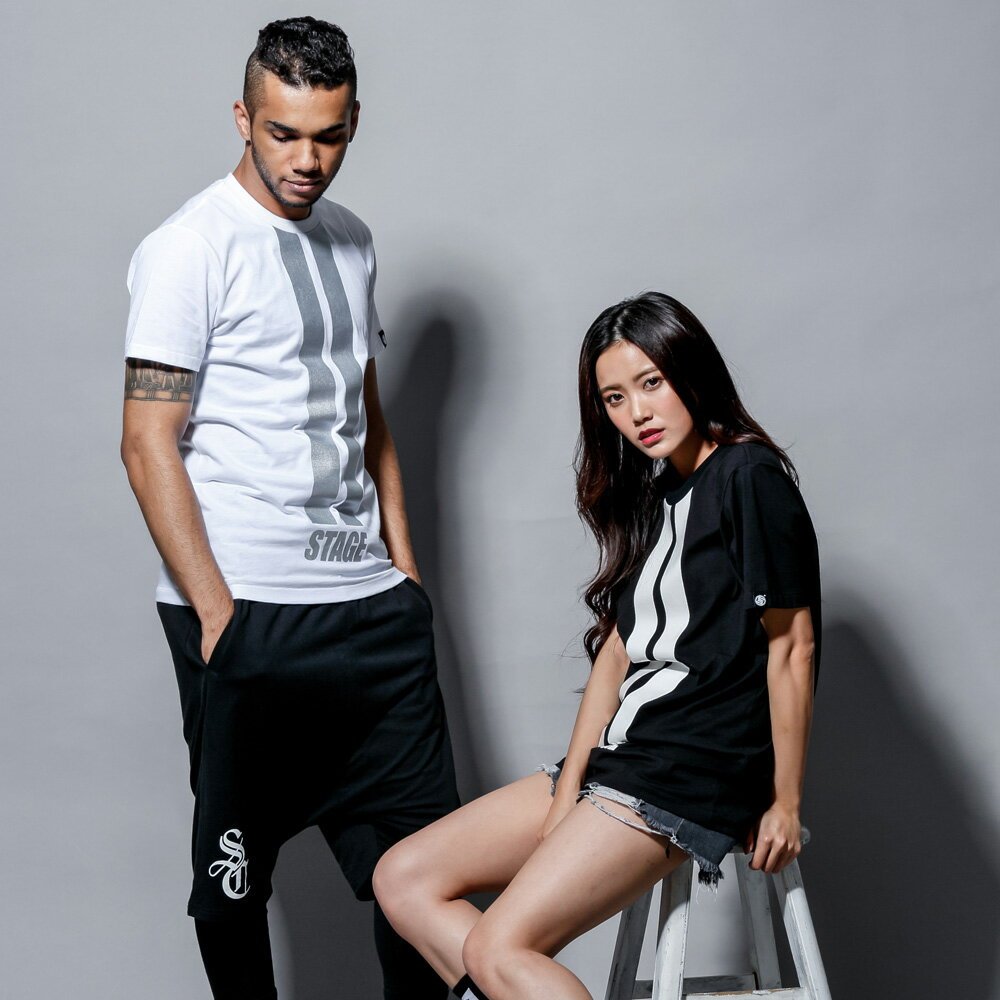 STAGE DOUBLE LINE TEE 黑色/白色 兩色 2