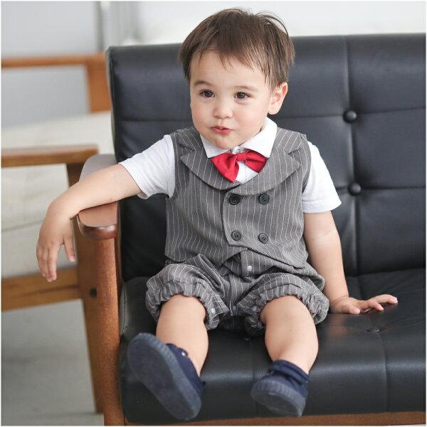 Augelute Baby 假吊帶條紋西裝背心連身衣 2件套 60244