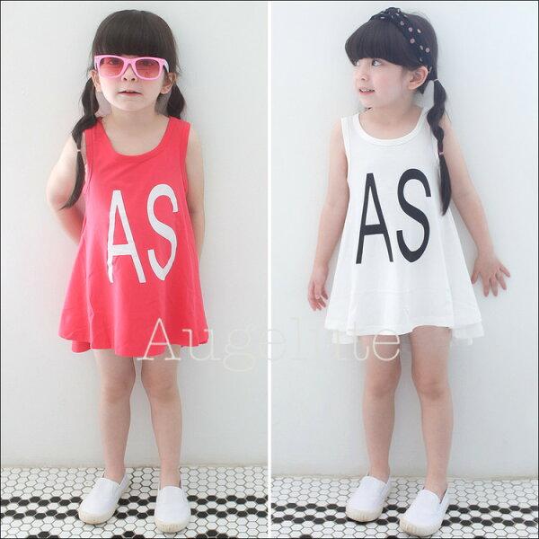 新品女童洋裝 簡約時穿字母裙 背心洋裝 31031