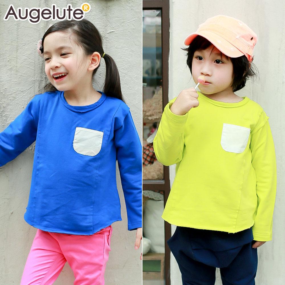 Augelute 兒童 素色拼接口袋腰身 上衣 36049 ~  好康折扣