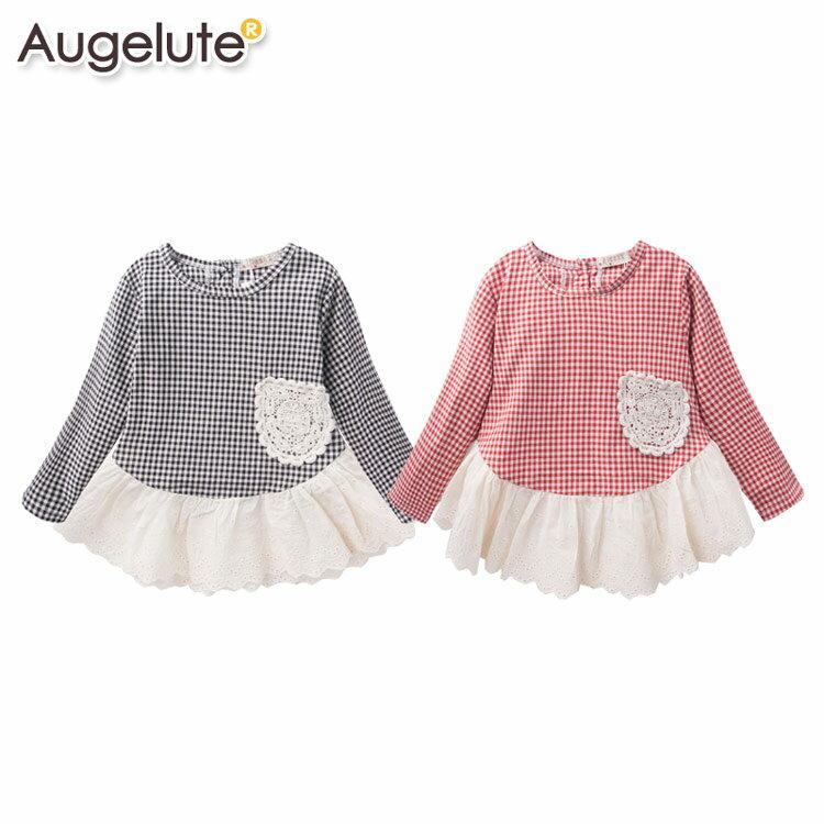 Augelute 女童 長袖格紋繡花蕾絲連身裙 36050 ~  好康折扣