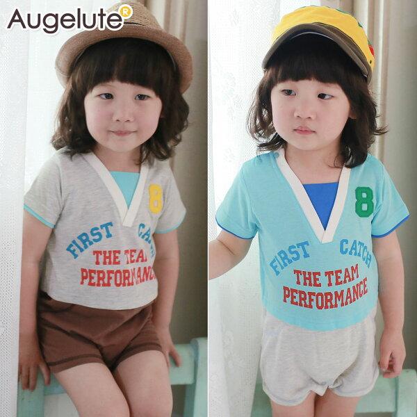 Augelute Baby 假兩件美式運動風連身衣 41134
