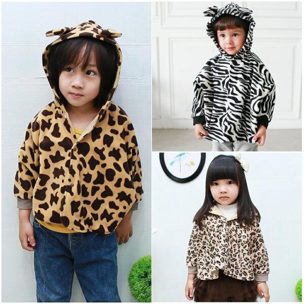 Augelute Baby 動物紋造型刷毛連帽披風斗篷 41320