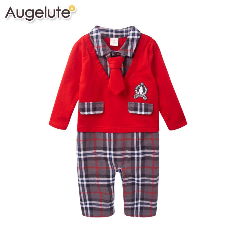 Augelute Baby 假兩件格紋大領帶學院風連身衣 47082 ~  好康折扣