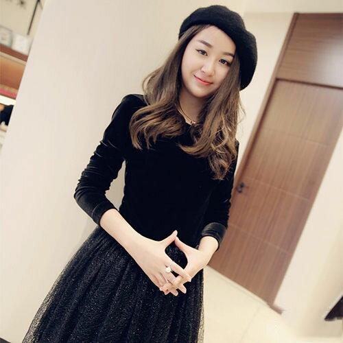PS Mall 歐美新款絲絨蓬蓬裙 長袖黑色晚禮服修身連衣裙【T3228】