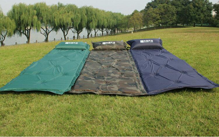 自動充氣墊 床 對折 對摺 充氣床墊 液 野餐瑜珈墊 防潮地墊 附收納袋 ~  好康折扣