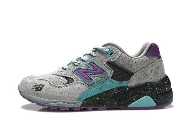 NEW BALANCE 580反毛皮運動休閒鞋慢跑鞋子 灰紫男女鞋