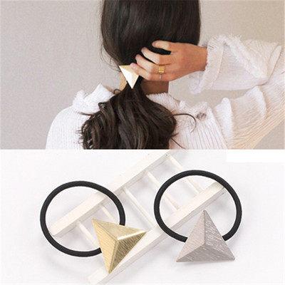 PS Mall 韓版髮飾髮繩百搭簡約金屬三角形磨砂亞光OL氣質頭繩皮筋髮圈 【G2078】