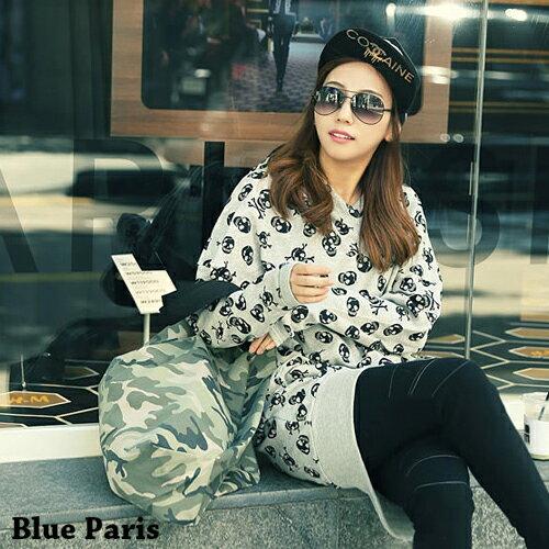 連帽上衣 - 滿版骷髏頭下襬縮口長袖連帽T恤【29180】藍色巴黎 - 現貨 + 預購 0