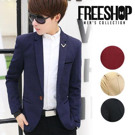 紳士風雙層口袋質感單扣造型素色修身劍領西裝外套 四色 有大尺碼【QTJN814】